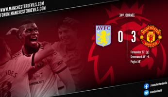 Aston Villa 0-3 Manchester United : United continue de briller